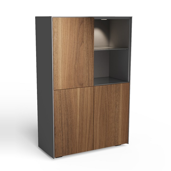Nexus Display Cabinet In Matt Grey And Walnut With LED_2
