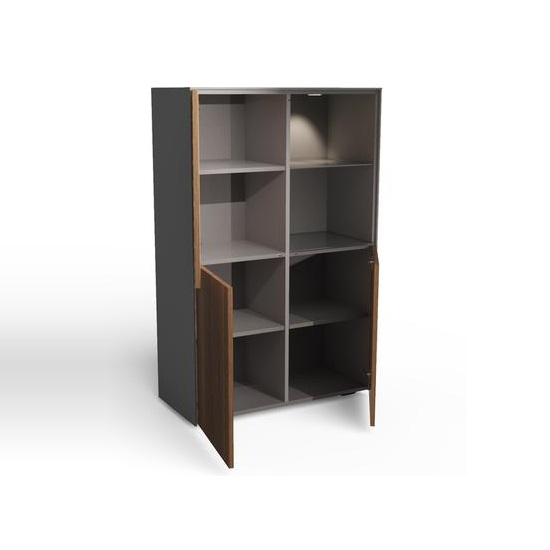 Nexus Display Cabinet In Matt Grey And Walnut With LED_4