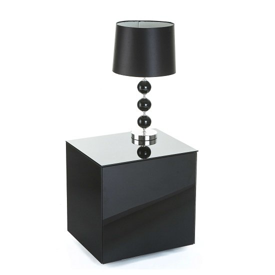 Nexus Glass Lamp Table In Black High Gloss With One Door