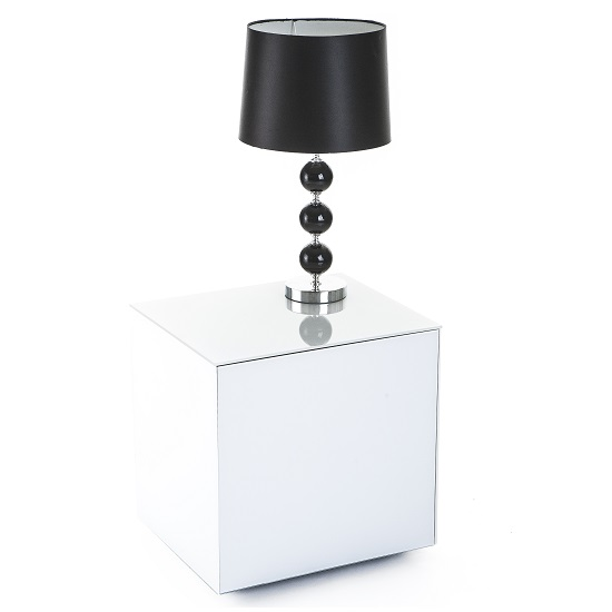 Nexus Glass Lamp Table In White High Gloss With One Door