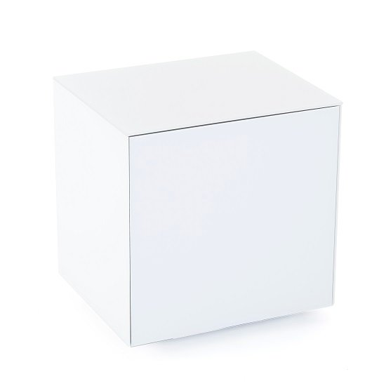 Nexus Glass Lamp Table In White High Gloss With One Door_2