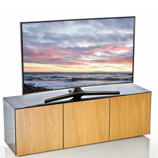 Product photograph showing Nexus Large Tv Stand In Black Gloss Oak And Wireless Charging