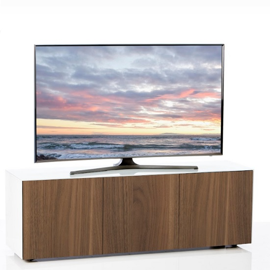 Nexus Large TV Stand In White Gloss Walnut And Wireless Charging