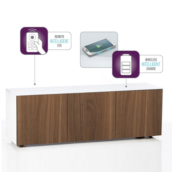 Nexus Large TV Stand In White Gloss Walnut And Wireless Charging_2