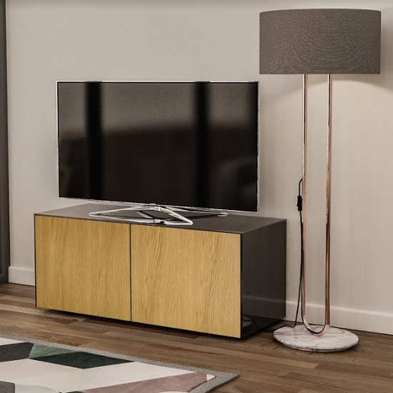 Nexus Small TV Stand In Black Gloss Oak And Wireless Charging