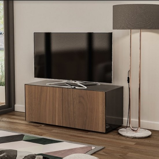Nexus Small TV Stand In Black Gloss Walnut And Wireless Charging_1
