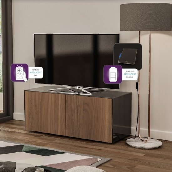 Nexus Small TV Stand In Black Gloss Walnut And Wireless Charging_2