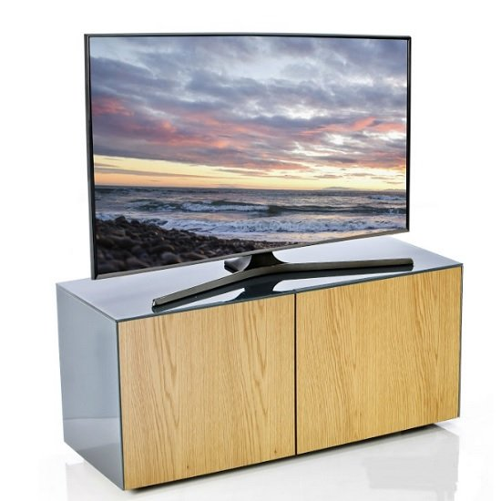 Nexus Small TV Stand In Grey Gloss Oak And Wireless Charging_1