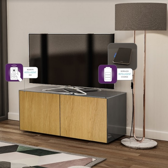 Nexus Small TV Stand In Grey Gloss Oak And Wireless Charging_2