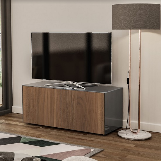Nexus Small TV Stand In Grey Gloss Walnut And Wireless Charging
