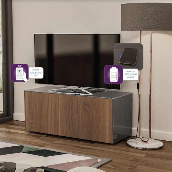 Nexus Small TV Stand In Grey Gloss Walnut And Wireless Charging_2