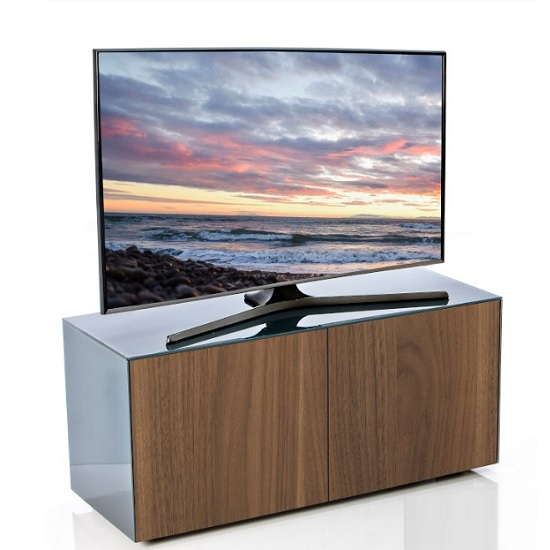 Nexus Small TV Stand In Grey Gloss Walnut And Wireless Charging_3