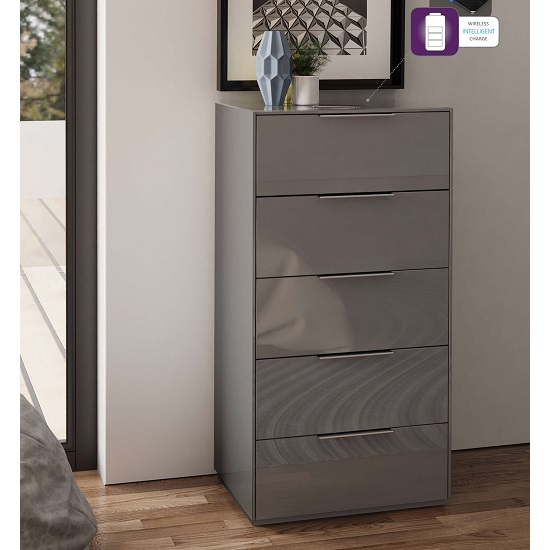 Nexus Wooden Tall Chest Of Drawers In Grey High Gloss_1