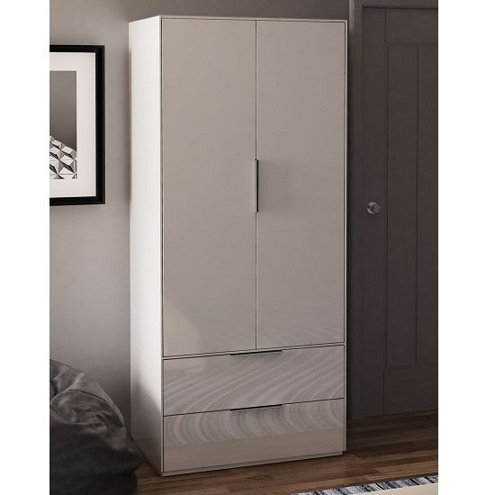 Nexus Wooden Wardrobe In White High Gloss With Two Doors