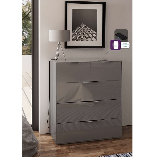 Nexus Wooden Wide Chest Of Drawers In Grey High Gloss