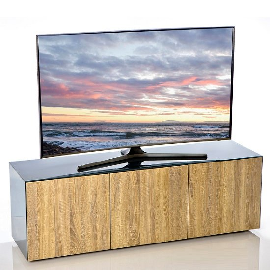 Nexus Large TV Stand In Grey Gloss Oak With Wireless Charging