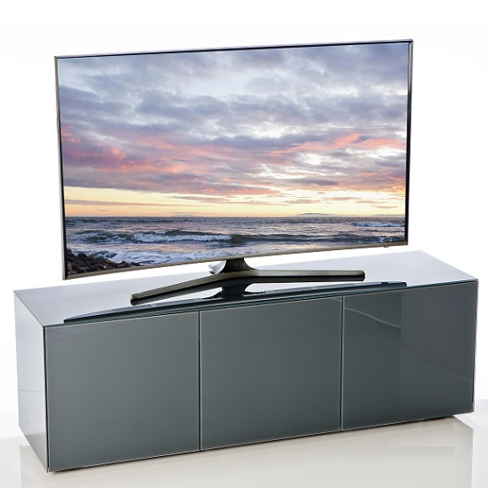 Nexus Large TV Stand In Grey High Gloss With Wireless Charging_1