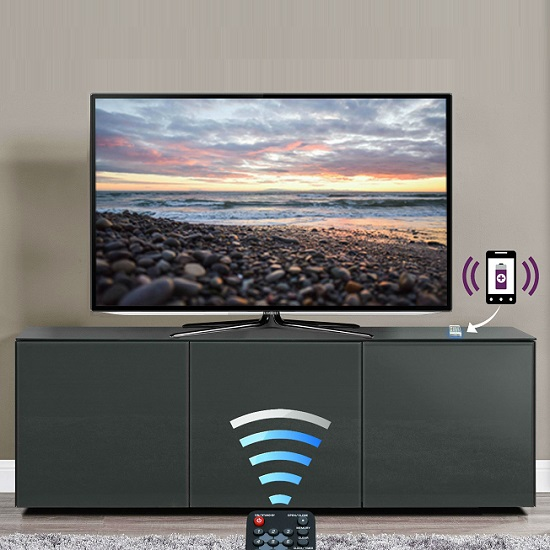 Nexus Large TV Stand In Grey High Gloss With Wireless Charging_3