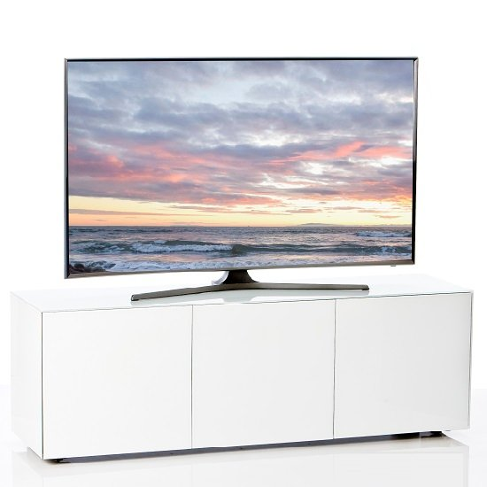 Nexus Large TV Stand In White High Gloss With Wireless Charging