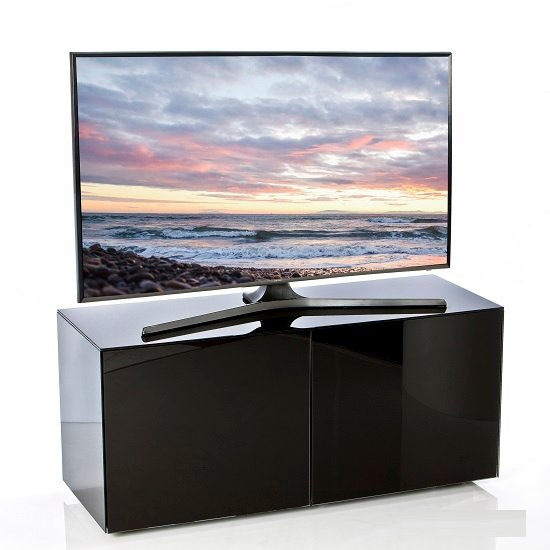 Nexus Small TV Stand In Black High Gloss With Wireless Charging