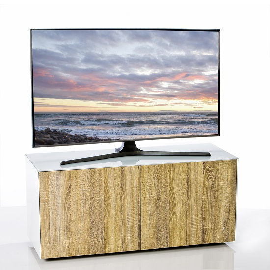 Nexus Small TV Stand In White Gloss Oak With Wireless Charging_1
