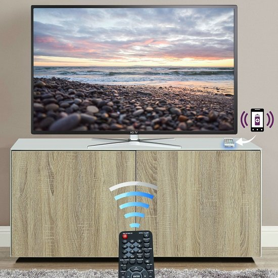Nexus Small TV Stand In White Gloss Oak With Wireless Charging_3