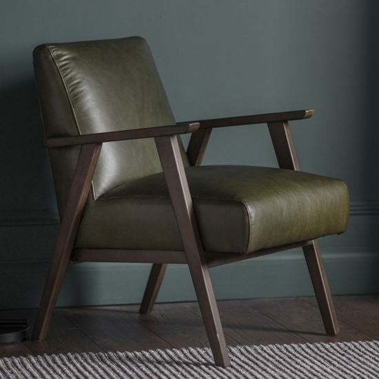 Neystone Faux Leather Armchair In Heritage Green