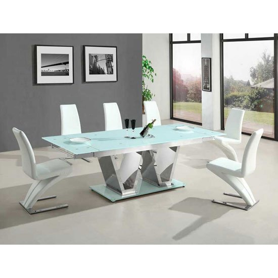 Nico extending glass dining table with 6 white dining - White extending dining table and chairs ...
