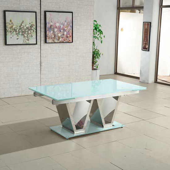 Nico Extending Glass Dining Table In White With Chrome Base_2