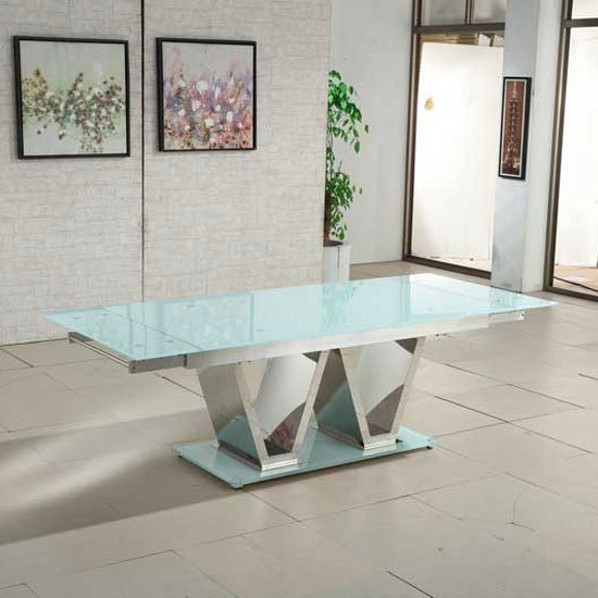 Nico Extending Glass Dining Table In White With Chrome Base_1
