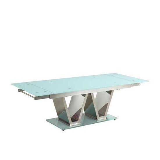 Nico Extending Glass Dining Table In White With Chrome Base_3