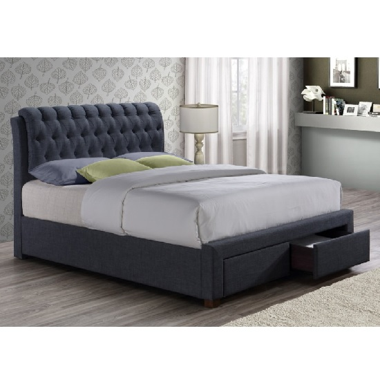 Read more about Nicolas modern fabric bed in charcoal with 2 drawers