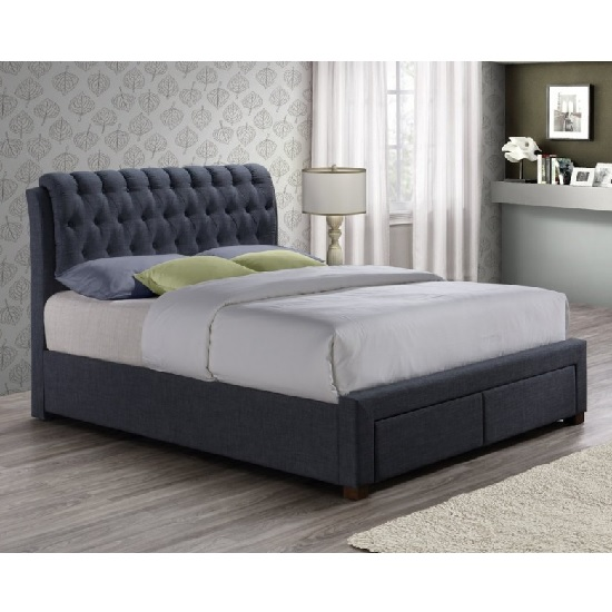 Nicolas Modern Fabric Bed In Charcoal With 2 Drawers_2