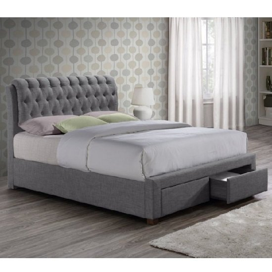 Nicolas Modern Fabric Bed In Grey With 2 Drawers