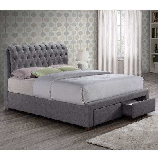 Read more about Nicolas modern fabric bed in grey with 2 drawers
