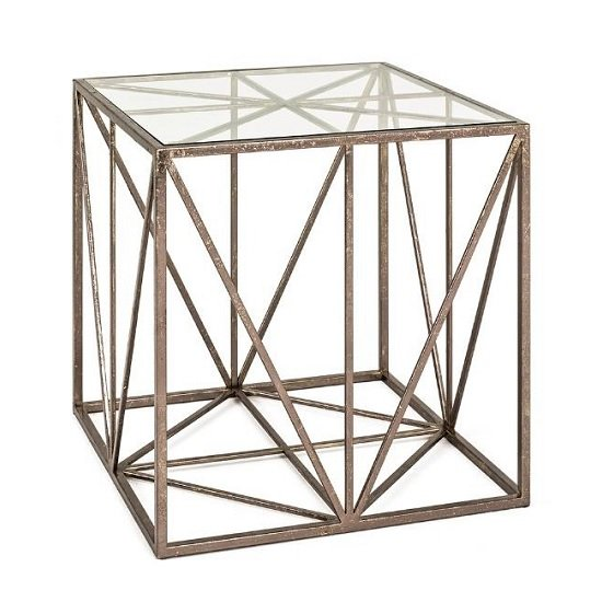 Nicole Glass End Table In Clear With Antique Bronze Frame