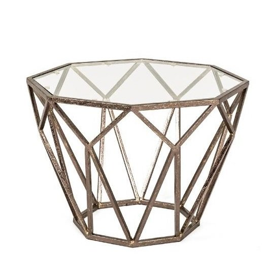 Nicole Glass Side Table Octagonal With Antique Bronze Frame