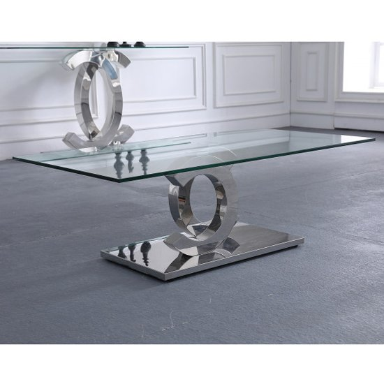 Niel Clear Glass Coffee Table With Silver Stainless Steel Legs