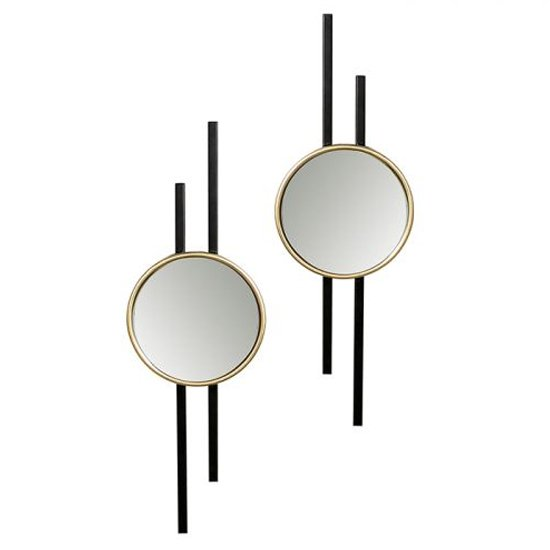 Nifty Set Of 2 Wall Bedroom Mirror In Black And Gold Frame