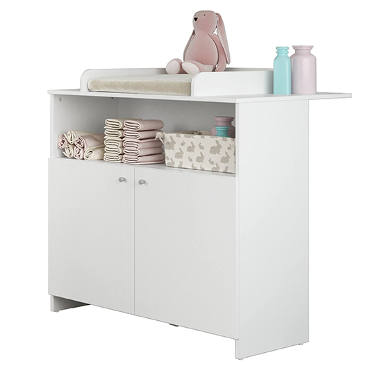 Nikz Wooden 2 Doors Storage Cabinet With Changer Top In White_2