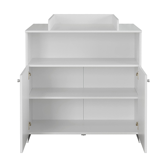 Nikz Wooden 2 Doors Storage Cabinet With Changer Top In White_3