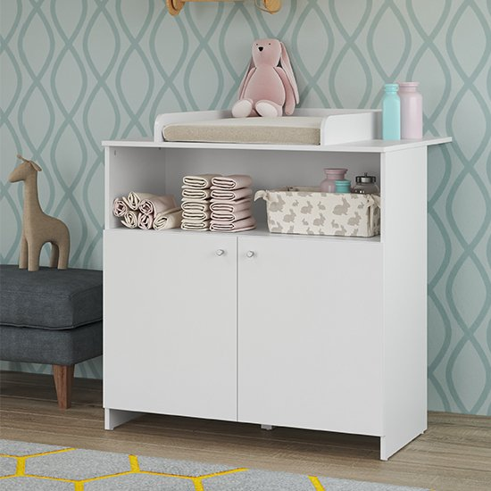Nikz Wooden 2 Doors Storage Cabinet With Changer Top In White_1
