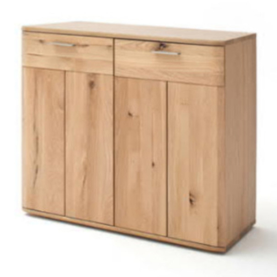 Nilo Chest Of Drawers In Planked Oak With 2 Doors 2 Drawers