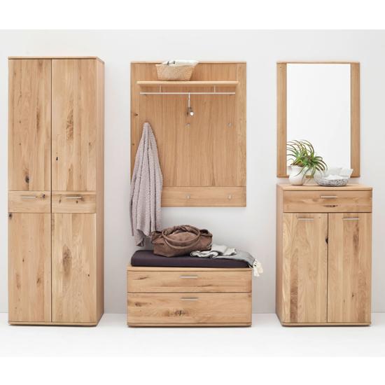 View Nilo wooden hallway furniture set in planked oak