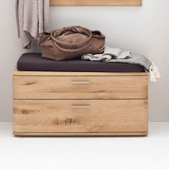 Nilo Wooden Shoe Storage Bench In Planked Oak