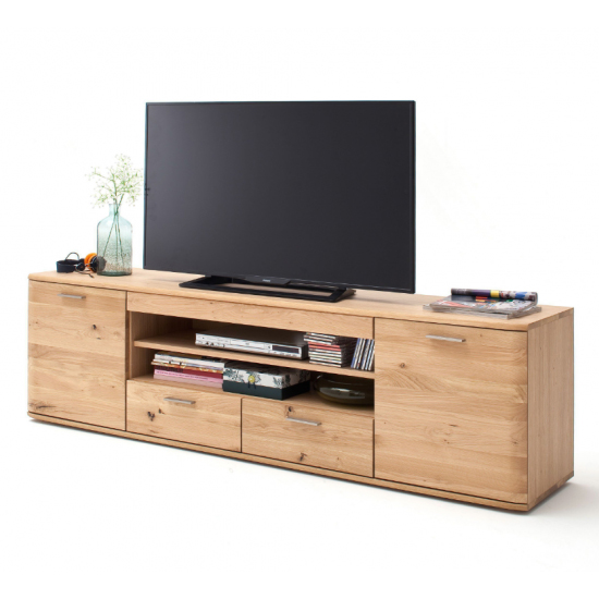 Nilo Wooden TV Stand In Planked Oak With 2 Doors 2 Drawers