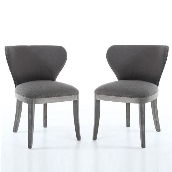 Niobe Fabric Dining Chair In Antique Grey In A Pair_1