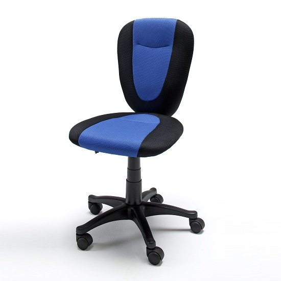 Aaron Fabric Home Office Chair In Blue And Black With Castors