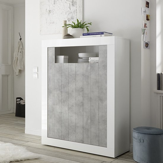 Nitro 2 Door Storage Unit In White Gloss And Cement Effect
