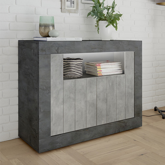 Nitro LED 2 Door Wooden Sideboard In Oxide And Cement Effect